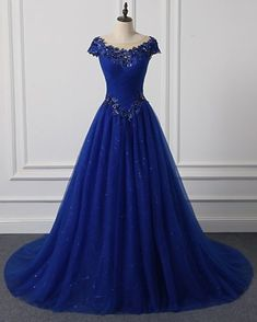 a06c2232be1 Royal Blue Tulle Cap Sleeve Floor Length Formal Prom Dress With Applique  from Sweetheart Dress