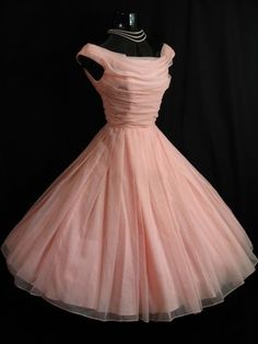 @Sunny Chase..$349.99...Vintage 1950's 50s Baby PINK Ruched Chiffon Organza Party Prom Wedding DRESS.