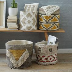 A total room brightener, these geometric-patterned baskets were handwoven by skilled Indian artisans whose technique has been certified by the non-profit organisation Craftmark.