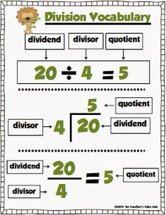 Free Division Poster Math Vocabulary and Understanding Dividend, Divisor and Quotient. Children Homework and Comprehension. Math Strategies, Math Resources, Math Activities, Division Strategies, Long Division Activities, Math Division Worksheets, Math Tips, Math Games, Second Grade