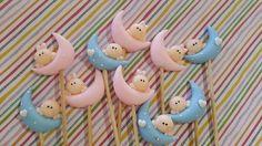 Brochettes Bebitos sobre lunas para nacimiento, bautismo o 1 añito