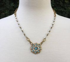 Vintage Assemblage Necklace with Repurposed Vintage Blue and Clear Rhinestone Flower Brooch and Czech Glass Beaded Chain by VintageChicShoppeUS on Etsy