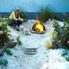 Backyard Beach: http://beachblissliving.com/beach-bonfire-in-backyard-fire-pit-ideas/