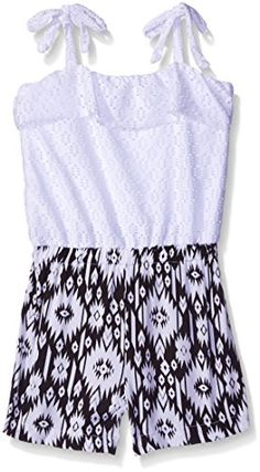 Limited Too Little Girls Eyelet Knit Top And Hibiscus Print Bottom Romper, Aztec, 4