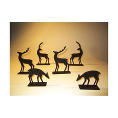 Set of Six Metal Silhouette Table Top Deer. Ideal for adding a few tea lights in-between with the lights turned down for a mystical Christmas feel.
