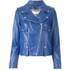 Golden Goose Deluxe Brand Azure Leather Biker Jacket (13.382.915 IDR) ❤ liked on Polyvore featuring outerwear, jackets, leather, motorcycle jacket, rider jacket, blue jackets, leather jacket and leather rider jacket