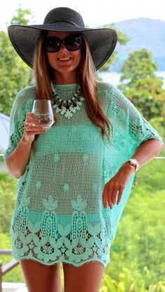 .Miguelina Mint Crochet Lace Cover Up.