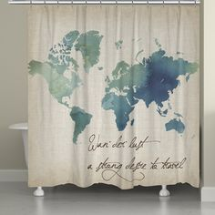 The combined use of an antique parchment map and a modern watercolor overlay creates a unique yet classic-looking piece. This shower curtain is digitally printed to create crisp, vibrant colors and im