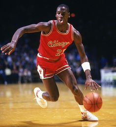 Michael Jordan drives to the hoop during his rookie season with the Chicago Bulls.
