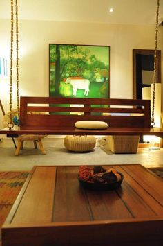 Indian Furniture, Home Decor Furniture, Dining Room Furniture, Indian Interior Design, Interior Ideas, Interior Decorating, Indoor Swing, Indian Interiors, Wooden Swings