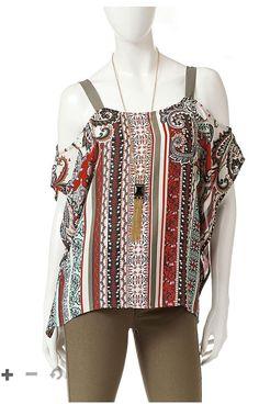 Boho Cold-Shoulder Tunic HEART SOUL Bohemian Print Top w Necklace Junior's M NWT #HeartSoul #Tunic #Casual