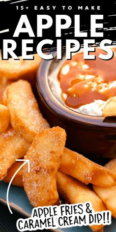 Easy Apple Fries with Caramel Cream Dip Baked Apple Dessert, Apple Dessert Recipes, Sweets Recipes, Fruit Recipes, Desert Recipes, Easy Desserts, Cooking Recipes, Donut Recipes, Crockpot Recipes