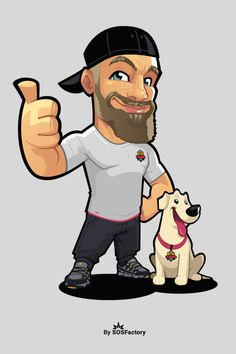 Mascot design for That Dog Trainer Dude #mascotdesign #mascotlogo Smiling Cat, Mascot Design, Freelance Designer, Logos, Ducks, Character Design, Characters, Drawings, Cats