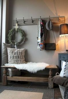 The new entryway in my house - took a coffee table and made it into a bench. (Teri's note - wish I had room for an entryway in my house! Home And Deco, Mudroom, Home Projects, Simple Projects, Family Room, Sweet Home, New Homes, House Ideas, House Design