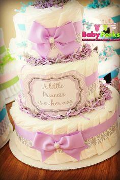 Purple  Damask Diaper Cake Lavender and Grey Baby di MsPerks