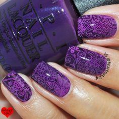 heartnat: Bundle Monster Shangri La Stamping Plate Collection Review & mani using: (Plate) BM-S105 - (Base) OPI O Suzi Mio  -  (Stamping Polish) Mundo de Uñas 'Fuchsia' & 'Purple'