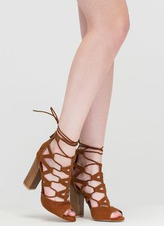 ff3f1be02aa Lucky Lace-Up Faux Suede Chunky Heels GoJane.com Ankle Strap Heels