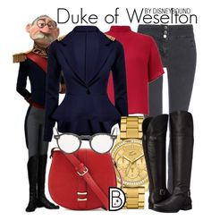 Duke of Weselton by leslieakay on Polyvore featuring Lipsy, Wallis, Naturalizer, Neiman Marcus, Lacoste, Oliver Peoples, disney, disneybound and disneycharacter