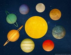 Milky Way Art Print with Planets in the Solar System by meganlee
