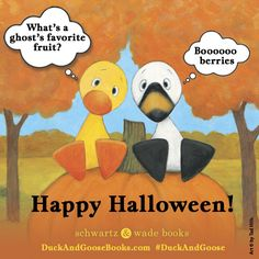 Happy Halloween! Love, Duck & Goose. DUCK AND GOOSE FIND A PUMPKIN by @tadhills is a great book for anyone who loves fall! #duckandgoose #halloween