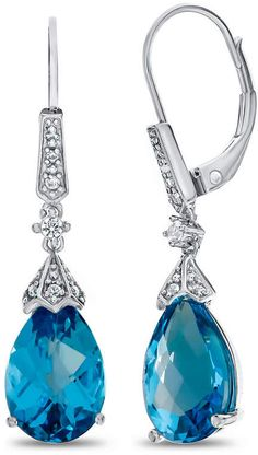 b4613b30ad30 FINE JEWELRY Genuine Blue Topaz   Lab-Created White Sapphire Sterling  Silver Drop Earrings