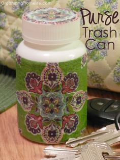 DIY Purse Trash Can with a medicine bottle--for gum wrappers, receipts and other trash that builds up in your purse!