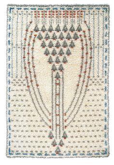Eva Mannerheim-Sparre woven ryijy cloth rug from wool & linen. Size 110 cm x 160 cm. Art Nouveau, Scandinavian Embroidery, Rya Rug, Art Textile, Applique Quilts, Rug Hooking, Handmade Crafts, Handicraft, Fiber Art