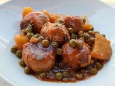 Albóndigas con patatas y salsa de guisantes - Receta Plato : Albóndigas con patatas y salsa de guisantes por Nana's hell's kitchen