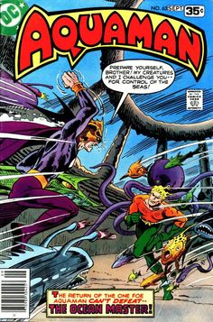 Aquaman and Aqualad reunite just in time to battle Ocean Master, who has found his way to some super-weapons hidden in the original city of Atlantis. Dc Comic Books, Comic Book Artists, Comic Book Covers, Comic Artist, Aquaman, Books New Releases, Ocean Master, Nostalgia, Nightwing And Starfire