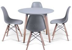 Grey Eiffel Designer Dining Set 4 DSW Chairs And 90cms Small Round Table With Natural Wood Legs Art Deco Eames Inspired