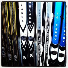 Awesome collection of sticks of star Ducks players. A lot of talent on this rack!