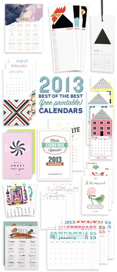 Benign Objects: 2013 (Free) Printable Calendar Roundup
