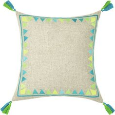 <strong>Trina Turk</strong> Neon Solona Embroidered Linen Throw Pillow