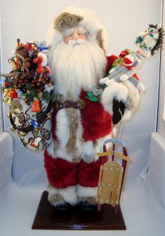 Wonderful  traditional Santa loaded with toys.