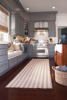 open kitchen up to dining room with window seat under window, as. open kitchen up to dining room with window seat under window, as bench seating for Kitchen Rug, New Kitchen, Kitchen Decor, Kitchen Runner, Kitchen Layout, Kitchen Mats, Kitchen Carpet, Awesome Kitchen, Beautiful Kitchen