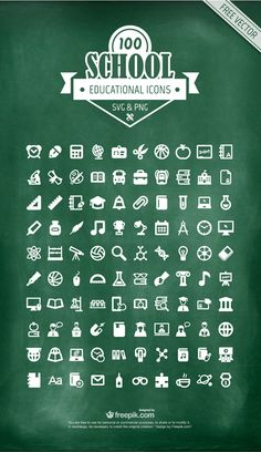 Freebie : 100 Educational Icons (SVG – PNG)