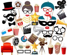 Movie Night Party Photo Booth Prop: PRINTABLE by stickericashop