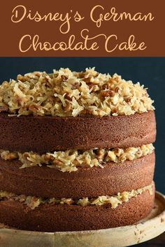 Disney's German Chocolate Cake-In Dixie Crystals was the official sugar at all Walt Disney World properties. This famous Chocolate Cake was served at the World Vacation Kingdom in the Enjoy a great throwback German Chocolate Cake Frosting, Homemade German Chocolate Cake, Chocolate Cake Mix Recipes, Cake Recipes, Dessert Recipes, Mini Cakes, Cupcake Cakes, Cake Cookies, Coconut Pecan Frosting