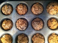 Gluten-free and Vegan Banana Oat Muffins, sub  peanut butter for the applesauce
