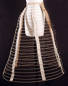 Cage crinoline Date: 1860s Culture: American Medium: cotton, metal, leather