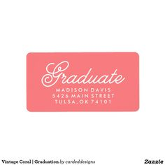 Vintage Coral | Graduation Address Label