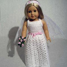 Crochet wedding dress for doll
