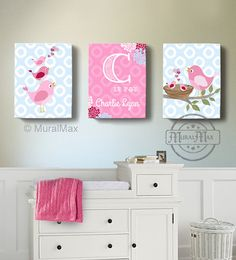 Hey, I found this really awesome Etsy listing at https://www.etsy.com/listing/157963136/girls-wall-art-birdies-canvas-art-baby