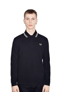e6363f7c260 Fred Perry - Long Sleeve Twin Tipped Fred Perry Shirt Black / Champagne /  Champagne Twin