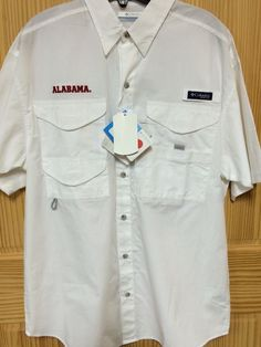 Mens Columbia Alabama PFG Size S NWT $60 Retail Fishing Shirt Button Up White #Columbia #ButtonFrontShirt