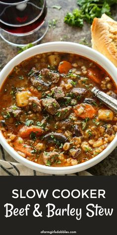 Slow Cooker Beef and Barley Stew from afarmgirlsdabbles. - Simple ingredients are left to mingle in the slow cooker, resulting in a rich and flavorful stew of tender beef and vegetables with barley. Crock Pot Slow Cooker, Slow Cooker Recipes, Cooking Recipes, Crockpot Beef Barley Soup, Beef Stew Slow Cooker, Crockpot Vegetable Beef Soup, Vegetable Barley Soup, Crock Pots, Crockpot Meals
