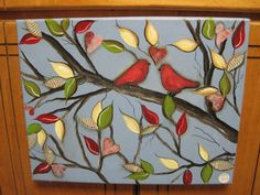 Mixed Media Bird Painting on Canvas Acrylics by amcinnisartworks, $25.00