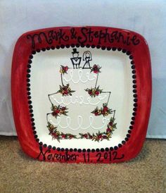 Wedding plate  personalized and hand by SomethingBluePottery, $70.00