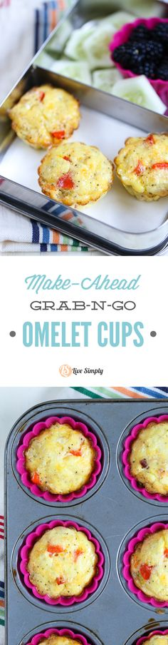 Omelet cups are the ultimate make-ahead busy morning meal or lunch. Omelet cups can be frozen for up to 2-3 months (although three months gets a bit iffy with texture and taste) or stored in the fridge for 3-4 days. Just reheat the egg cups and serve. Easy peasy, healthy, and scrumptious!