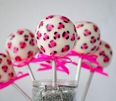 Pink cheetah print cake pops.